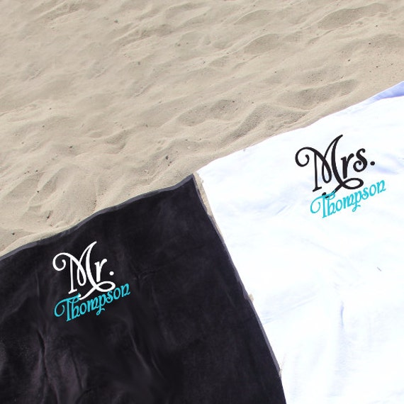 Monogrammed Beach Towel And Bag Set: Set Of 2 Monogrammed Mr. & Mrs. Beach Towels Personalized