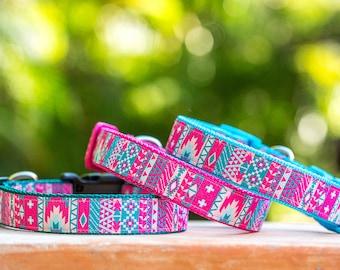 Pastel Aztec / Mexican Dog Collar, Geometric Dog Collar