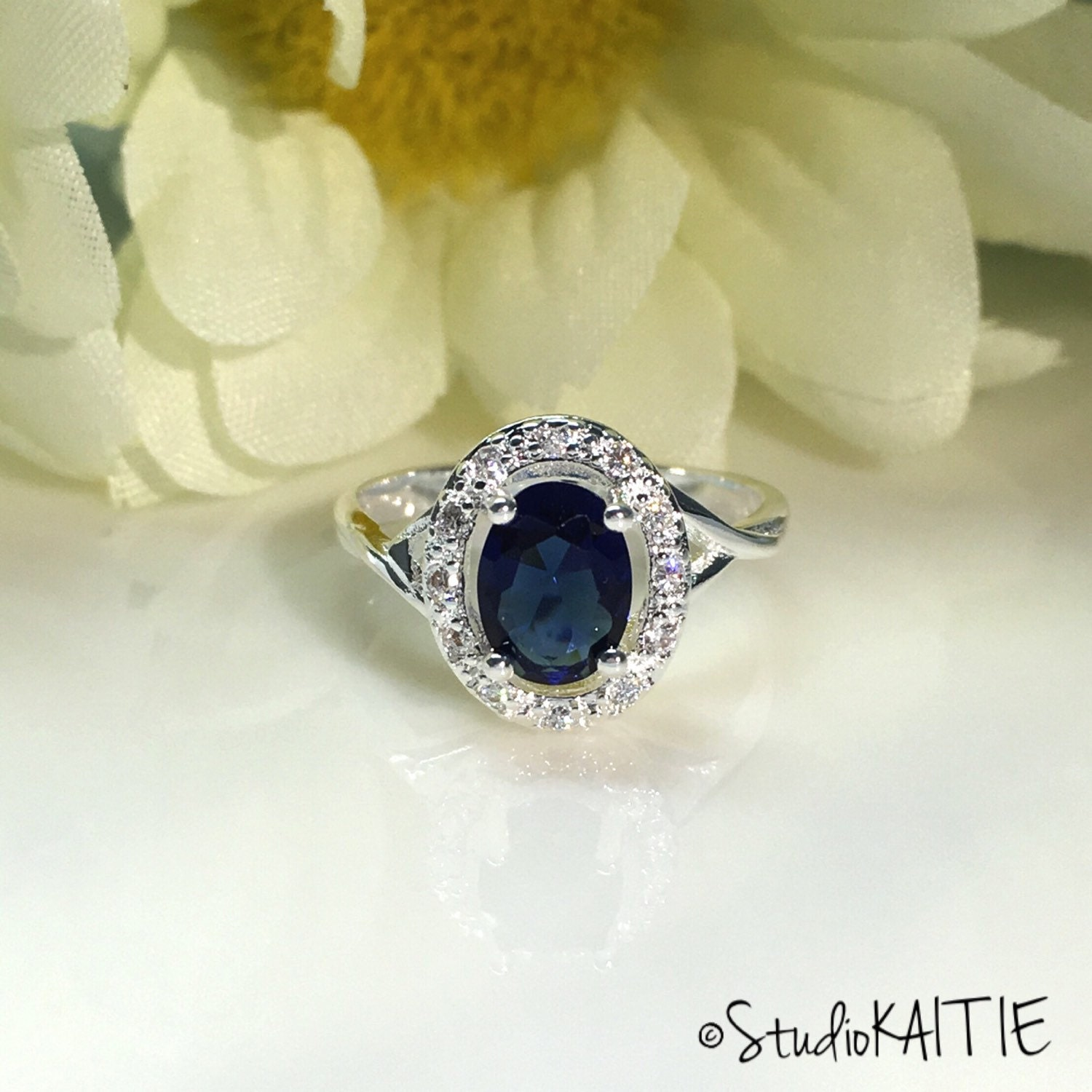 1 5 ct Blue Oval Cut Halo Engagement Ring Sapphire CZ Cubic