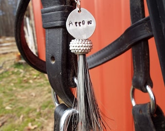 Horse Bridle Tag with Horse Hair