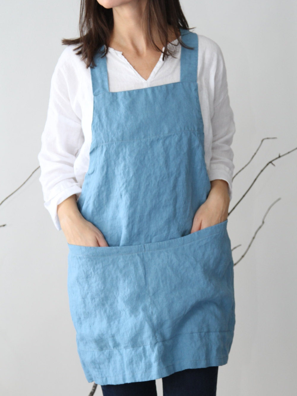 linen criss cross apron pinafore no ties by lostinlinen on etsy. Black Bedroom Furniture Sets. Home Design Ideas