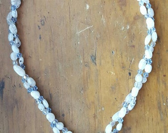 Double Strand Moonstone Pendant Swarovski Crystal Beaded Necklace, Sterling Silver Pendant Necklace, Karen Hill Tribe Silver