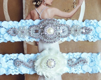 Wedding Garter Set, Crystal Rhinestone Garter Set on a White Lace, Garter Set with Pearl & Rhinestone