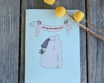 Wedding Congratulations Card, Just Married Card, Wedding Card, Recycled Greeting Card