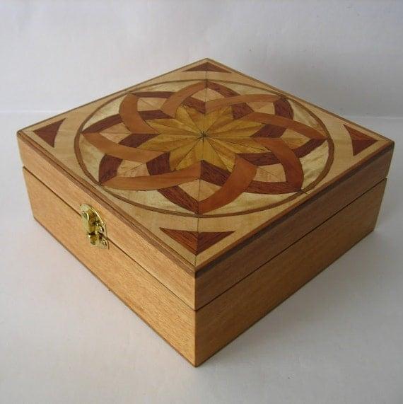 Handmade - Wooden Box - Marquetry - Jewelry box - Inlay
