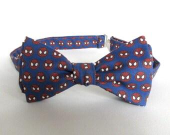 Spiderman Self Tie Bow Tie Spider Man Logo Symbol Red White and Blue Boyfriend Gift for Him Boy Men Extra Long Superhero Wedding Geekery