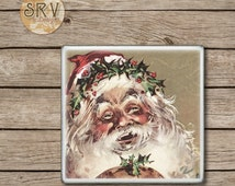 Drink Coaster, Vintage Santa Clause, Old St. Nick Handmade Design, Ceramic Tiles, Housewarming Gift, Christmas Gift, Old Fashion Christmas