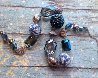 Blue Statement Necklace, Glass Necklace, Necklace, Beaded Necklace, Beadwork Necklace, Gift For Her, Trending Item