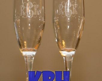 Set of 2 Monogrammed Champagne Glasses