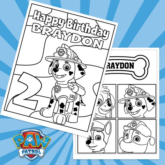 Paw Patrol Coloring Pages Happy Birthday : Paw patrol custom printable birthday coloring sheets