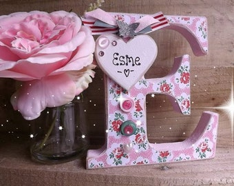 Floral Handmade Alphabet Standing Letter Name Plaque