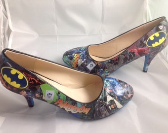 Batman Comic Book Shoes, Superhero Heels, Unique and One of a Kind.