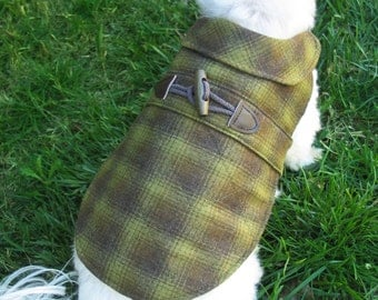 Green Plaid Wool Dog Coat with Diamond Quilting and Wood Toggle - Green and Brown Dog Jacket