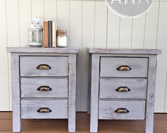 Pair of Rustic Beach Style Bedside Tables in Smoke