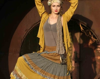 Mustard-yellow maxi skirt in boho-chic style. Multi-layer. Materials: lace, flax, viscose and silk.