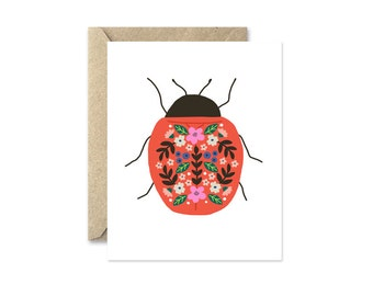 Insect Note Cards, Ladybug Beetle, Blank Greeting Card with Flowers