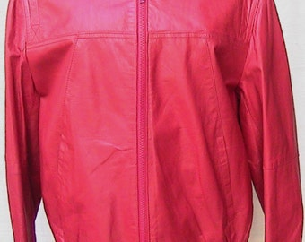 Ruby Red Short Leather Jacket size 38