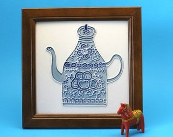 Framed Decorative Tile, Blue Teapot Design