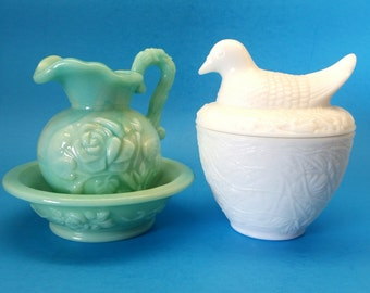 Vintage Avon Collectibles, Hen on Nest and Jadeite Pitcher and Basin