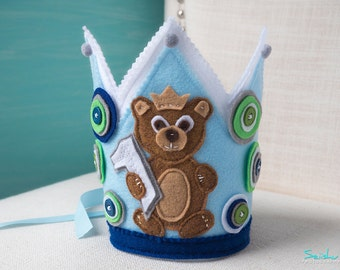 1st Birthday Boy, Boy Birthday Crown, Bear Birthday Crown, Bear Birthday, Woodland Crown, 1st Birthday, Birthday Crown, Baby Bear Crown