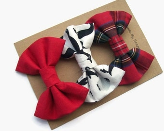 Christmas Hair Bow Set, Teen Girl Gifts, Holiday Hair Clips, Gifts for Sister, Tartan Bow, Penguins