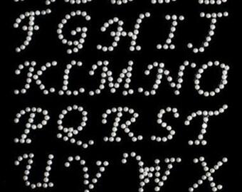30 X Pearl Stick On Diamante Gems Self Adhesive Letters Alphabet ABC Rhinestones