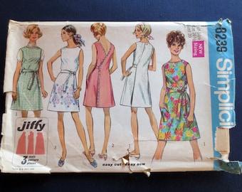 1969 Back Wrap Dress or Jumper Uncut Vintage Pattern, Jiffy Simplicity 8239, Half Size 16 1/2, Bust 39