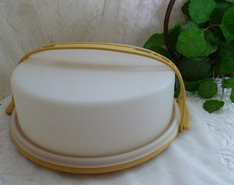 Vintage TUPPERWARE PIE / CAKE Carrier w/ Lid & Carry Holder Church Dinner Potluck Picnic Storage Dining