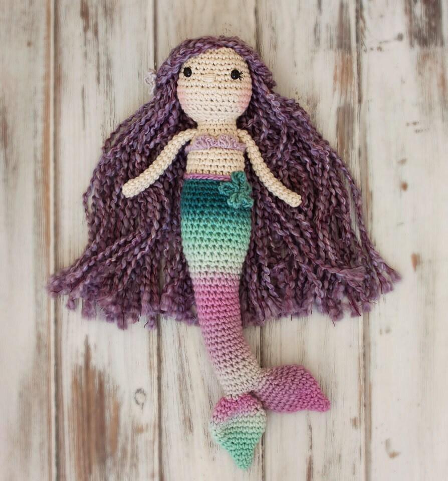 Crochet Pattern Mermaid Doll : Crocheted Mermaid Doll Amigurumi Mermaid Doll Mermaid Doll
