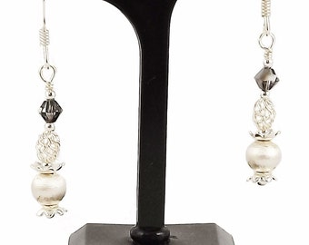 Earrings Silver 925 and Crystal from Swarovski grey