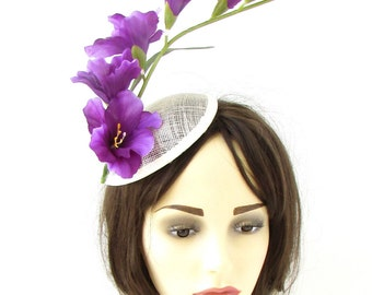 Ivory Cream Peach Rose Flower Fascinator Headpiece 1940s Pillbox Hat Races 528
