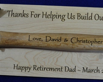 Retirement Gift ~ Hammer Plaque ~ Personalized Hammer Gift ~ Retirement Plaque ~ Ceremonial Gift ~ Gift For Retirement ~ Engraved Retirement