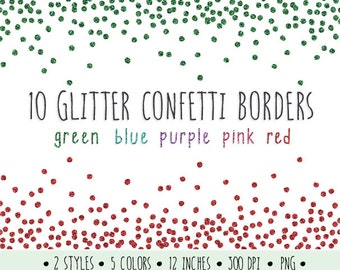 Glitter Confetti Borders Clip Art. Glitter Borders and Frames. Metallic Confetti Clipart. Green, Turquoise, Pink and Red Digital Glitter.