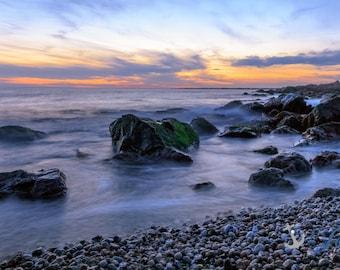 Sakonnet Stones  ~ Panoramic, Sakonnet Point, Little Compton, Rhode Island, Coastal Home Decor, Beach Photography, Ocean, Joules, Wall Art