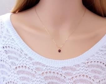 Tiny garnet necklace 14Kt gold-filled; gemstone necklace gold; gold garnet necklace; small garnet necklace; January birthstone necklace