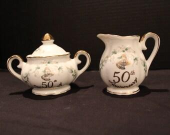 Vintage Lefton China 50th Anniversary Sugar & Creamer Hand Painted Marked 1144 Golden Anniversary Wedding Anniversary  (C200)