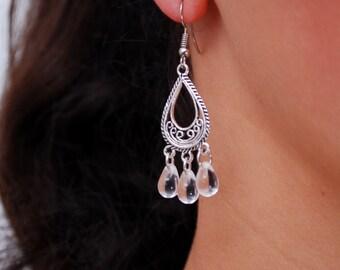 Bridsmaid gifts, teardrop earrings, Boho Chandelier Earrings, Women's Jewelry, gift idea, silver tone drop earrings