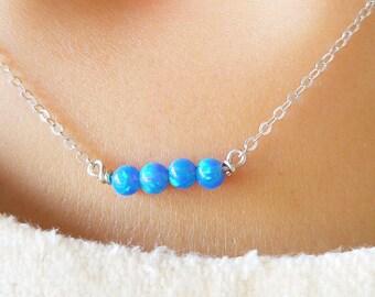 Opal Necklace , Opal Bar Necklace , Gold Bar Necklace , Opal Bar Necklace  Turquoise Necklace  Tiny Opal Balls Necklace , Minimalist Jewelry