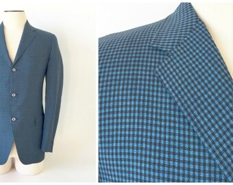 Vintage Sport Coat / Blue Check Sport Coat / 1960's Men's Jacket / 1960s Sport Coat / Blue Jacket / 40 Long