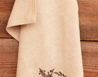 Personalized Linen Tea towrel, Handmade towel, Embroidered Linen Towel, Bee , Crown and Laurel wreath Towel, Monograms available