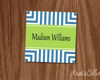 Personalized Gift Tags or Stickers, Personalized Calling Cards Gift Inserts Enclosure Cards, Geometric Stripes Mommy Cards, Birthday Girl