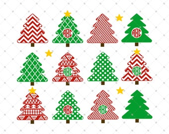 Christmas Tree SVG Cut Files, Christmas Monogram Frame SVG Cut Files for Cricut, Silhouette and other Vinyl Cutters, svg files