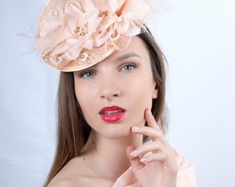 Peach blossom Wedding hat, Wedding headpiece, Romantic hat, peach cream fascinator, Bridal fascinator, Bridal fascinator, peach wedding hat
