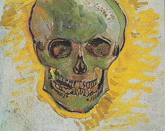 "Vincent Van Gogh ""Skull"" 1887 Reproduction Digital Print Vintage Print Wall Hanging"