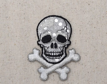 Silver - Skull with Crossbones - Shimmery - Jolly Roger - Iron on Applique - Embroidered Patch - 156460A