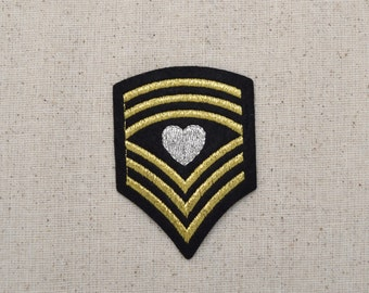 Black Military Chevron - Shield with Heart - Iron on Applique - Embroidered Patch - 621022-B