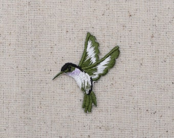 Hummingbird - Small - Lavender Throat - Facing LEFT or RIGHT - Iron on Applique - Embroidered Patch - 693983