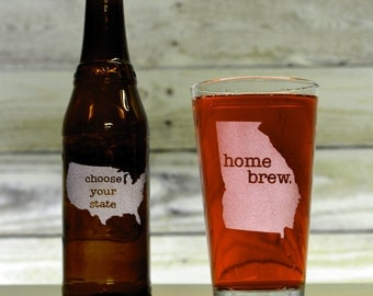 Custom Beer Glass. Pick Any State & Text. Custom Pint Glass. Glassware. Drinkware. Beer Mug. Beer Gifts.