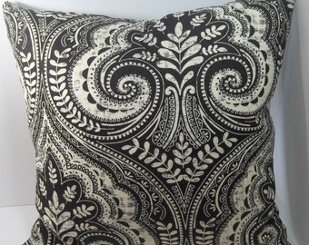 Black and Ivory throw pillow cover 18 x 18 decorative pillow cover accent pillow