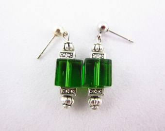 Green Glass Earrings Handmade Dangle Earrings